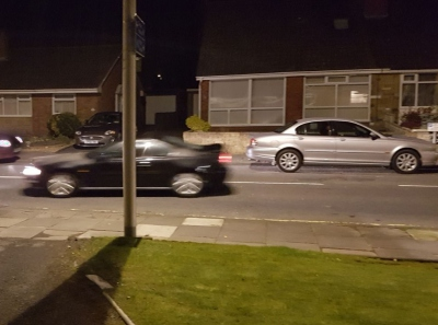 The Prelude being driven away to his new home, the X-Type waiting patiently to return to the driveway.